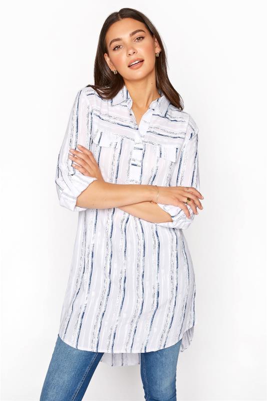 Tall  LTS White Dip Back Stripe Shirt