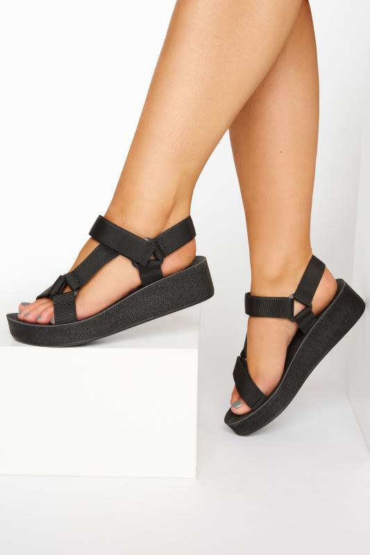 LIMITED COLLECTION Black Sporty Mid Platform Sandals In Extra Wide Fit