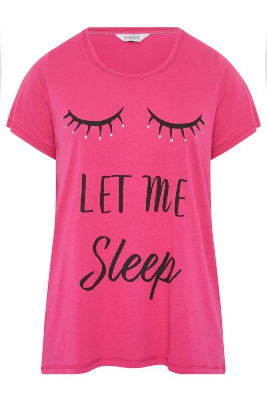 Pink 'Let Me Sleep' Dipped Back Pyjama Top_f.jpg