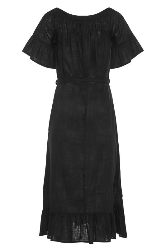 LTS Black Linen Bardot Frill Dress_BK.jpg