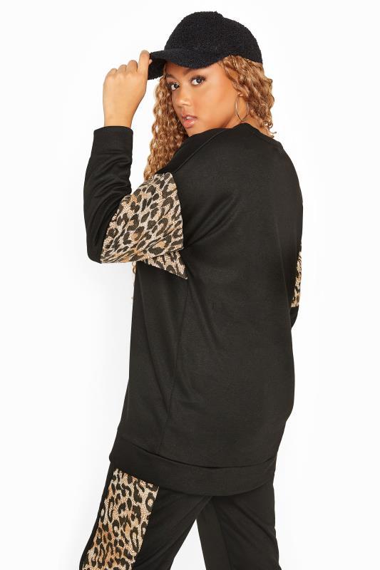 Black Leopard Colour Block Sweatshirt
