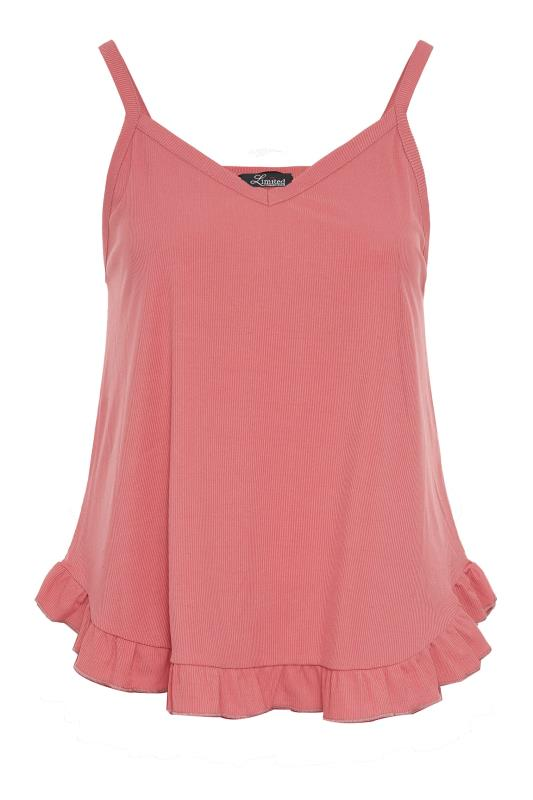 LIMITED COLLECTION Pink Frill Ribbed Pyjama Top_F.jpg