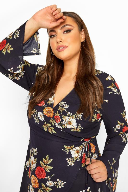 YOURS LONDON Navy Winter Floral Flute Sleeve Wrap Top