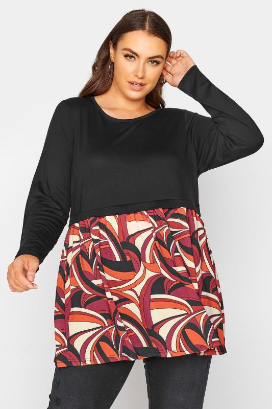 Grande Taille LIMITED COLLECTION Black Abstract Smock Top