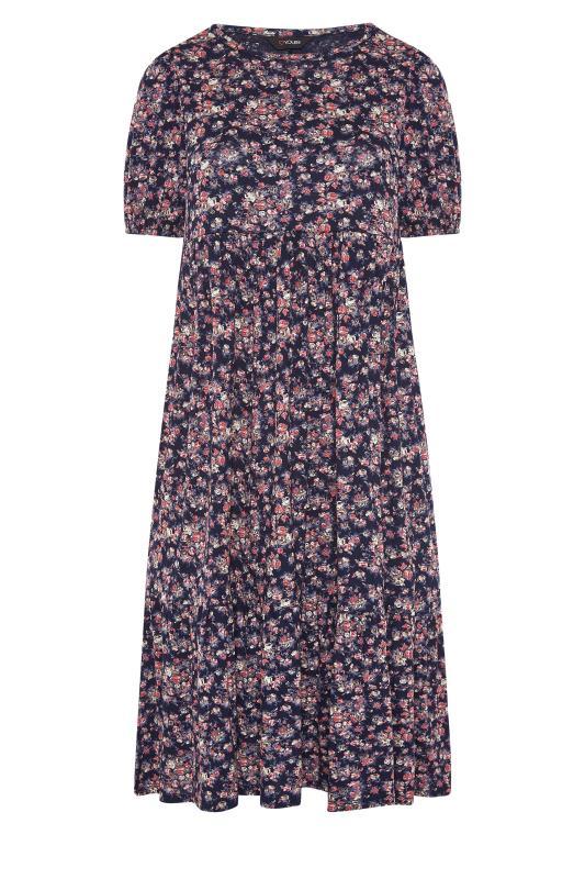 Navy Floral Puff Sleeve Midaxi Dress_F.jpg