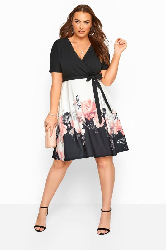 Plus-Größen Floral Dresses Black & White Floral Border Wrap Dress