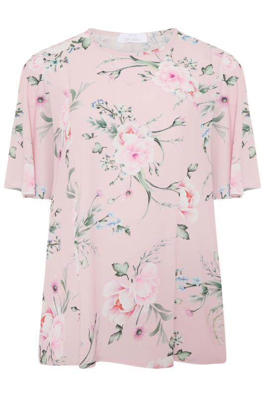 YOURS LONDON Pink Floral Angel Sleeve Blouse_f.jpg
