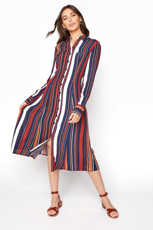 Navy Stripe Print Shirt Dress