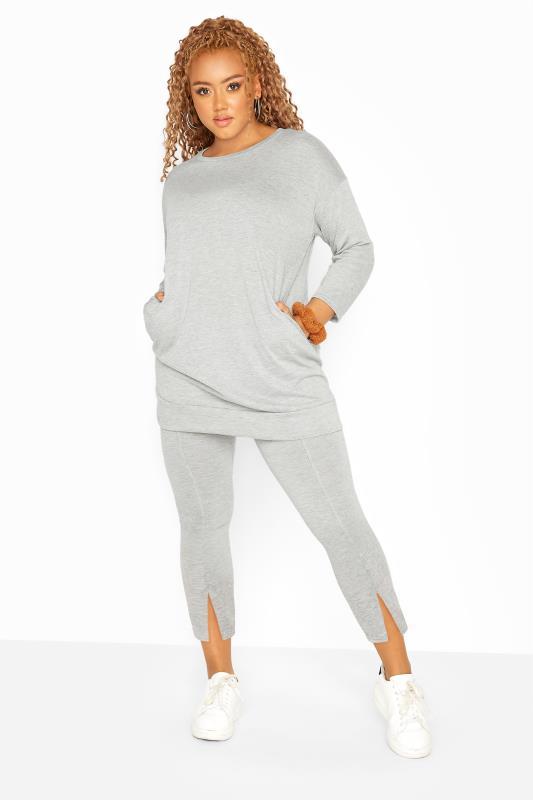Grey Marl Split Hem Co-ord Leggings