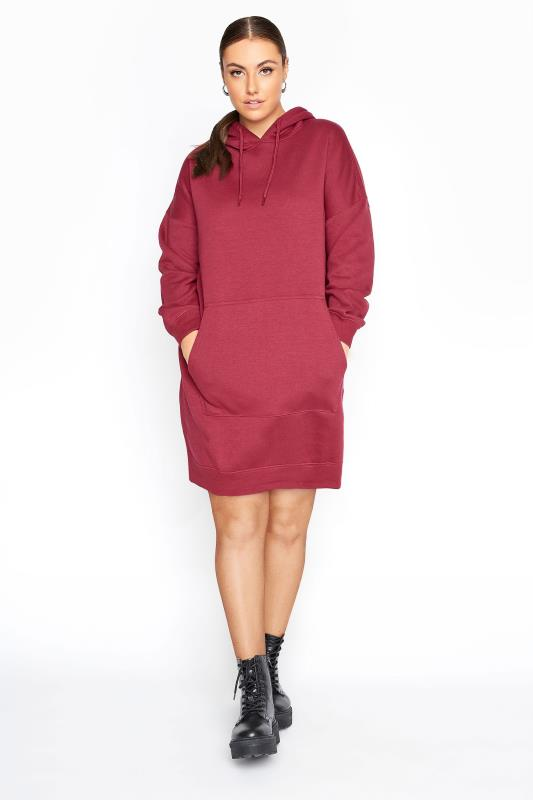 Plus Size  LIMITED COLLECTION Raspberry Pink Cotton Jersey Longline Hoodie