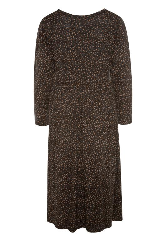 LIMITED COLLECTION Brown Ditsy Print Smock Midaxi Dress_BK.jpg