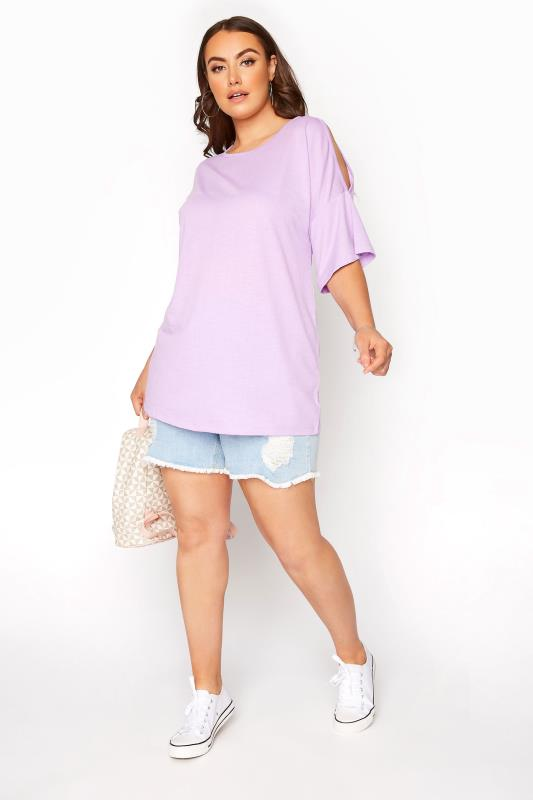 Lilac Cold Shoulder T-Shirt