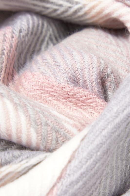 Pink & Grey Herringbone Check Scarf_D.jpg