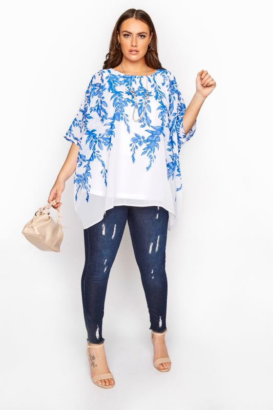 YOURS LONDON Blue Floral Cape Top