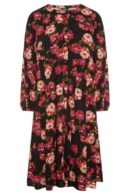 THE LIMITED EDIT Black Floral Smock Tiered Shirt Dress_F.jpg