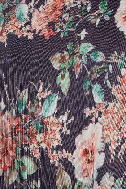 Navy Floral Print Short Sleeve Top_S.jpg