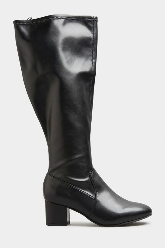 Black Faux Leather Stretch Knee Boots In Extra Wide Fit_A.jpg