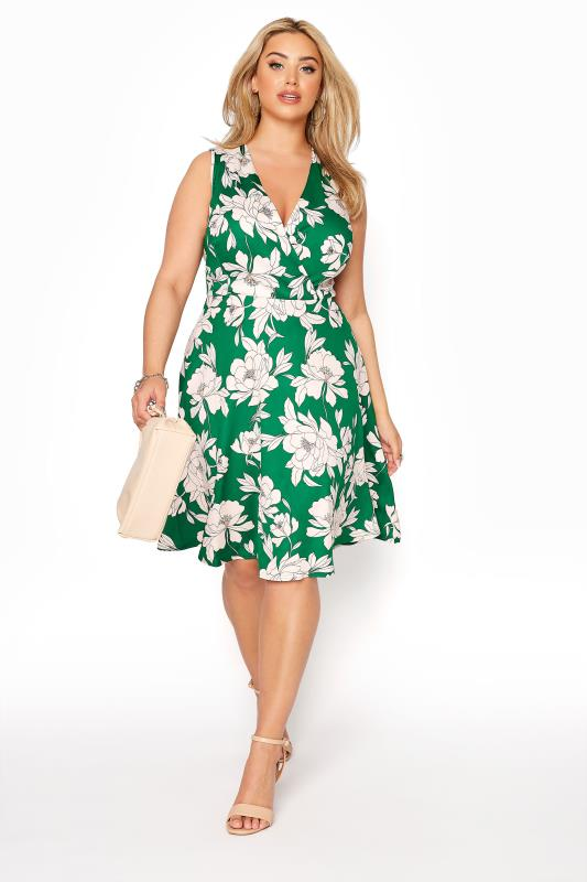 Green Floral Wrap Skater Midi Dress_B.jpg