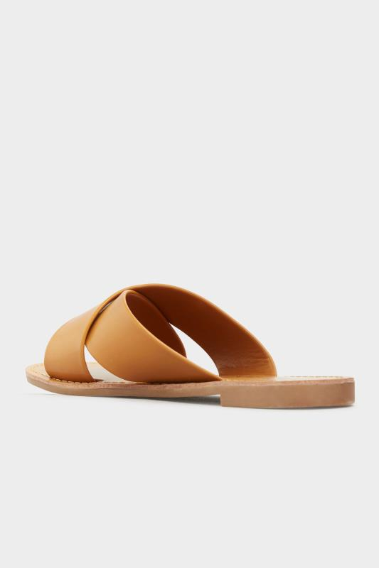 LIMITED COLLECTION Tan Cross Strap Mules In Extra Wide Fit_C.jpg