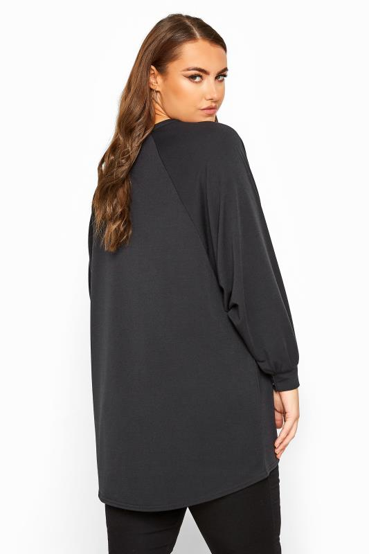 LIMITED COLLECTION Black 'Stay Wild' Dipped Hem Oversized Sweatshirt