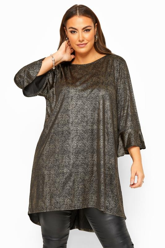 Plus Size Casual / Every Day YOURS LONDON Black & Gold Foil Flute Sleeve Tunic