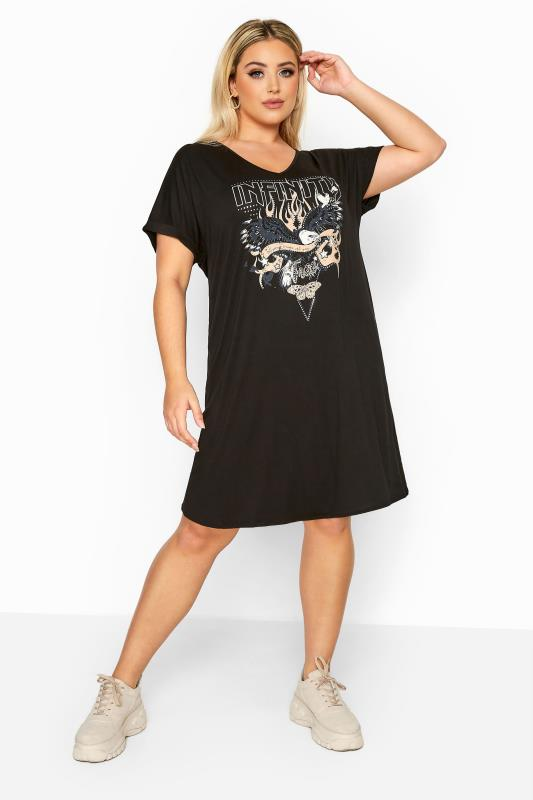 LIMITED COLLECTION Black Foil Eagle 'Infinity' T-Shirt Dress