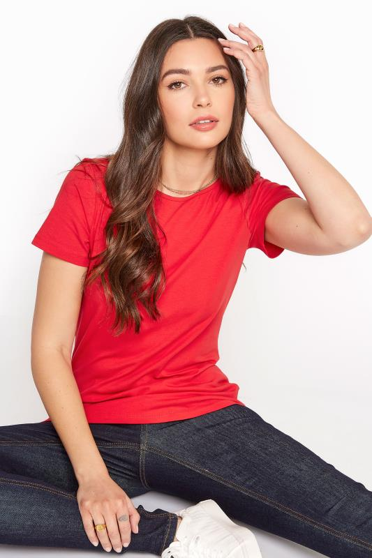 Red Cotton Stretch Boat Neck T-Shirt