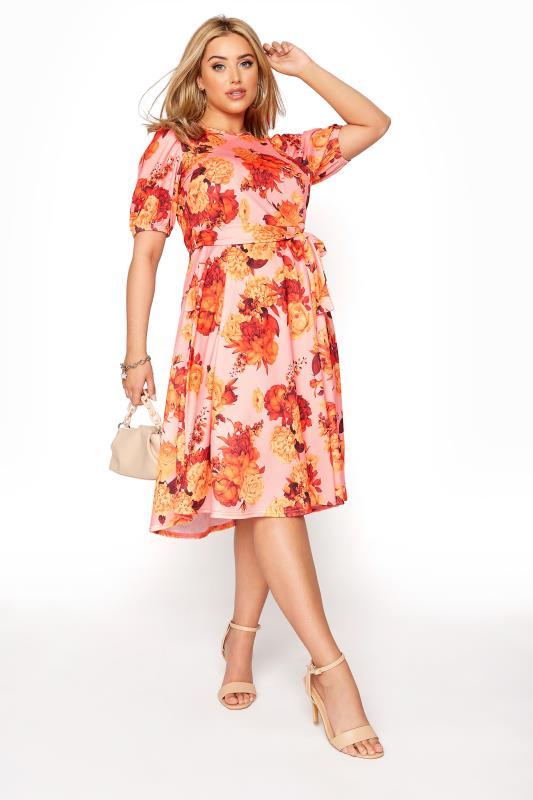 YOURS LONDON Orange Floral Puff Sleeve Skater Dress