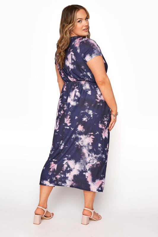 YOURS LONDON Navy Tie Dye Pocket Midi Dress_C.jpg