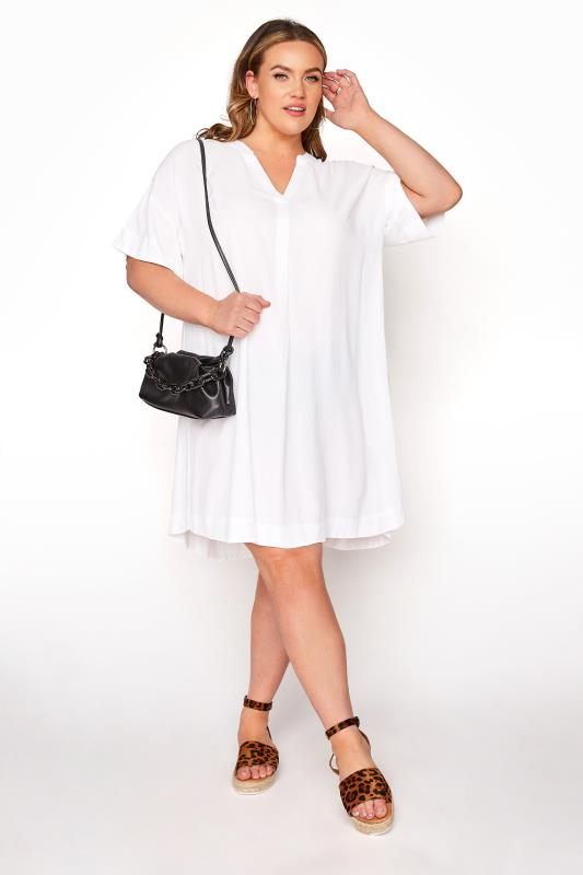 dla puszystych LIMITED COLLECTION White Notch Neck Summer Throw On Dress