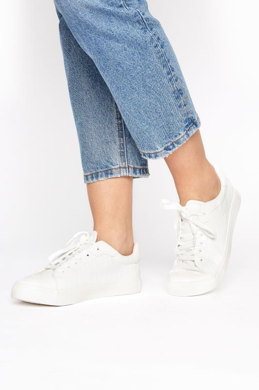 Tall  LTS White Croc Lace Up Trainer