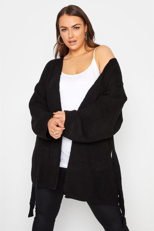 Black Wide Sleeve Belted Cardigan_A.jpg