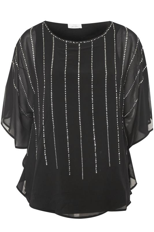 Plus Size Sequin Tops YOURS LONDON Black Chiffon Sequin Embellished Cape Top