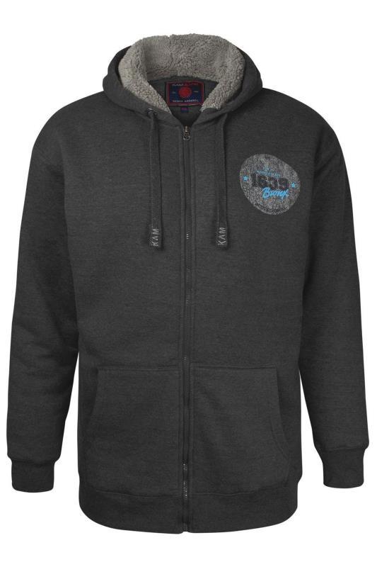 Casual / Every Day dla puszystych KAM Charcoal Grey Fleece Lined Bronx Zip Through Hoodie