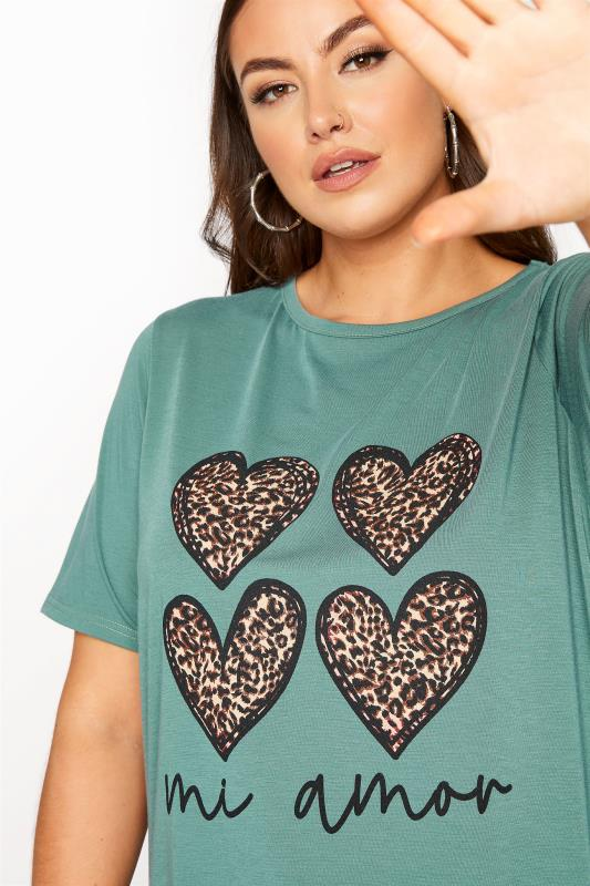 LIMITED COLLECTION Sage 'Mi Amor' Slogan Printed T-Shirt_D.jpg