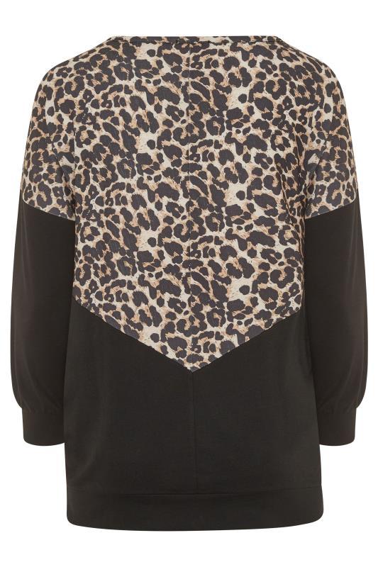 BUMP IT UP MATERNITY Black Leopard Print Colour Block Sweatshirt_BK.jpg