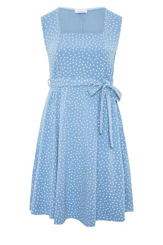 YOURS LONDON Blue Polka Dot Skater Dress_F.jpg