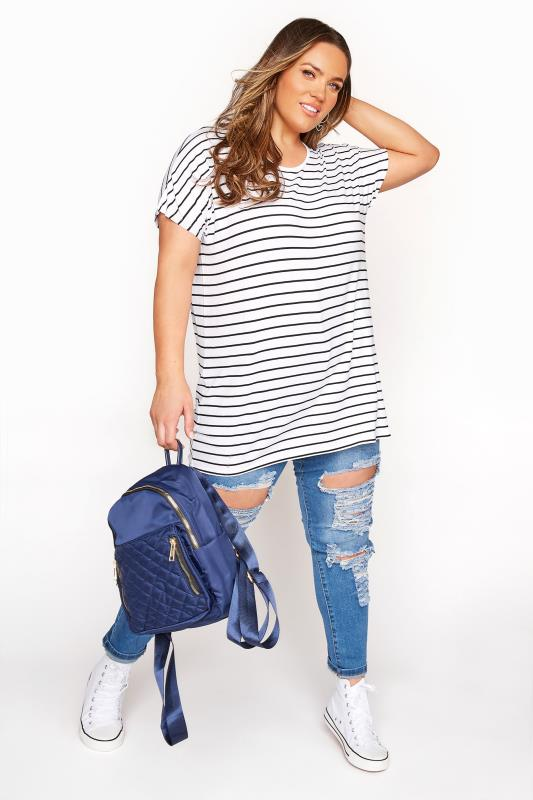 White and Black Striped Grown on Sleeve T-Shirt