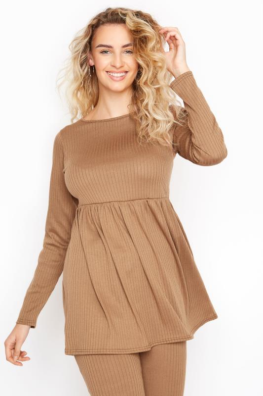 Tall  LTS Camel Ribbed Peplum Co-ord Lounge Top