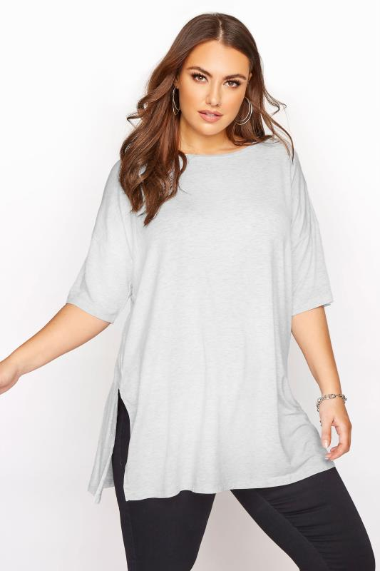 Plus Size  Light Grey Marl Oversized T-Shirt