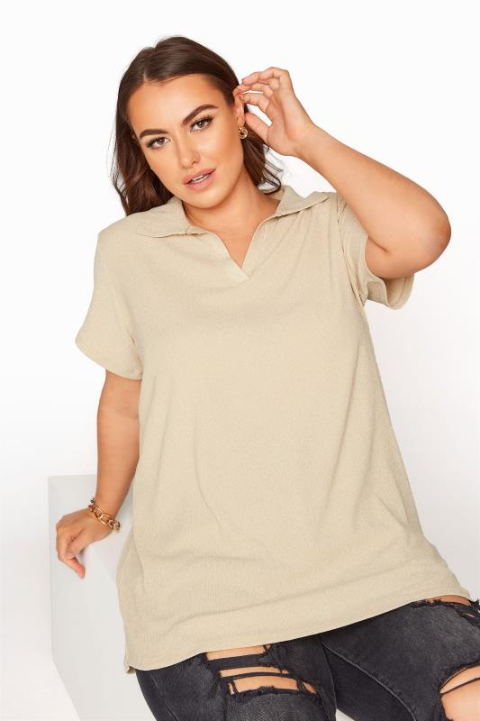 Plus Size  Beige Textured Polo Top