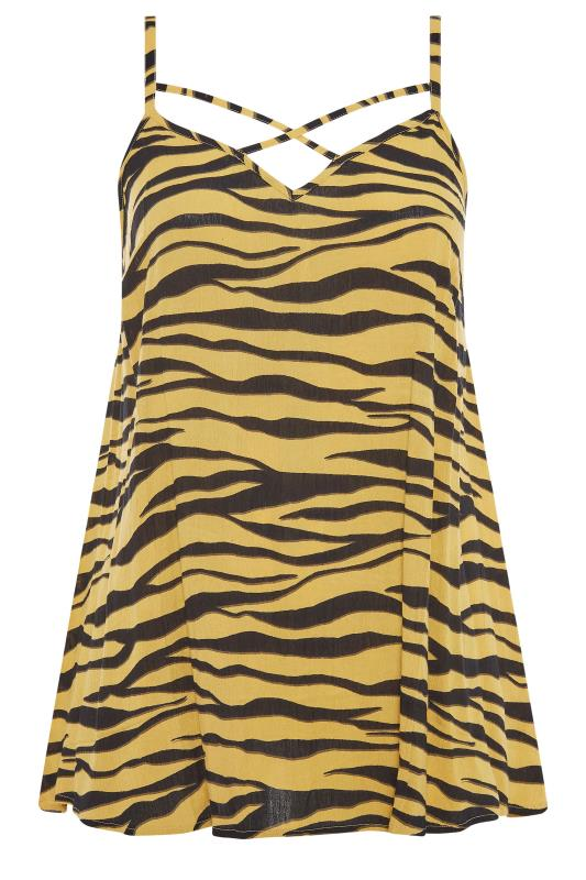LIMITED COLLECTION Mustard Yellow Zebra Strappy Swing Cami_F.jpg