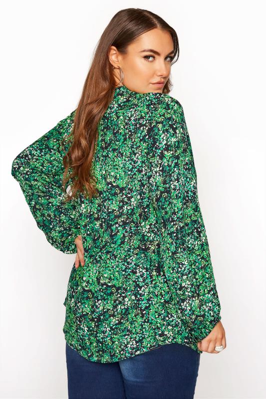 YOURS LONDON Green Floral Tie Frill Neck Blouse_C.jpg