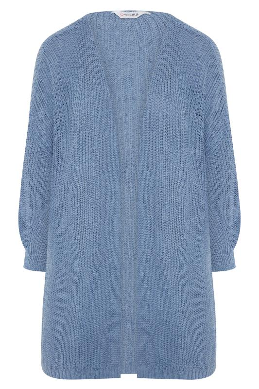 Pale Blue Oversized Balloon Sleeve Knitted Cardigan_F.jpg