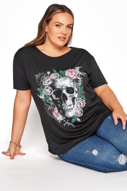 Plus Size  Black Skull T-Shirt