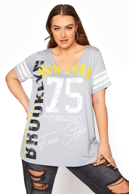 Plus Size  Grey Printed V-Neck T-Shirt