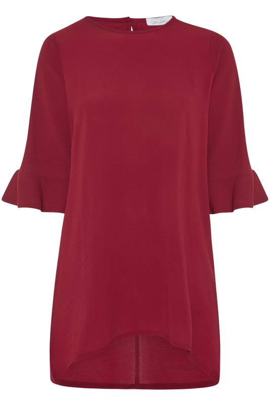YOURS LONDON Wine Red Flute Sleeve Tunic_F.jpg