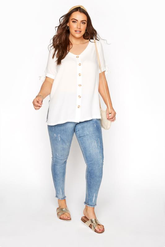 White Button Front Tie Sleeve Top