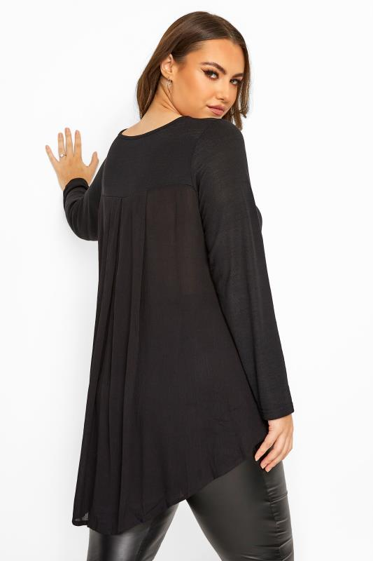 Plus Size Knitted Tops & Jumpers Black Pleat Back Knitted Top