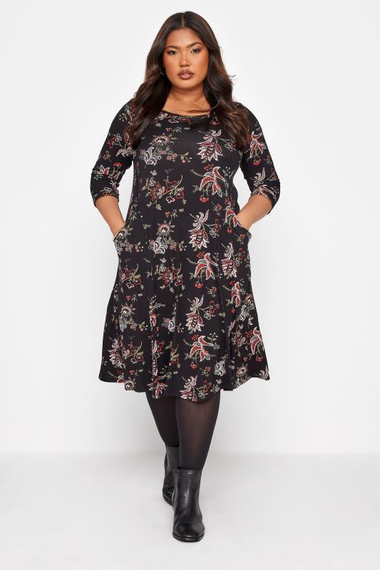 Plus Size  Black Paisley Print Pocket Midi Dress